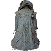 Exquisite Taffeta Lace insertion Dress Slip Bonnet for antique german french bisque huge doll