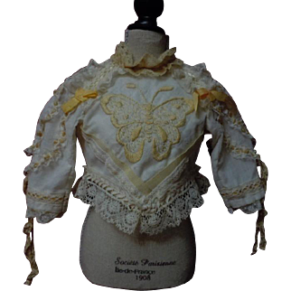 Wonderful linen costume golden butterflies Dress w/ petticoat Bodice Beret Purse for french bebe Jumeau Steiner Eden Bru doll