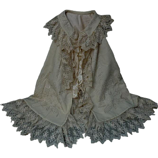 Superb Original Antique Christening Cape  floral arabesque Embroidery for german french huge bisque doll