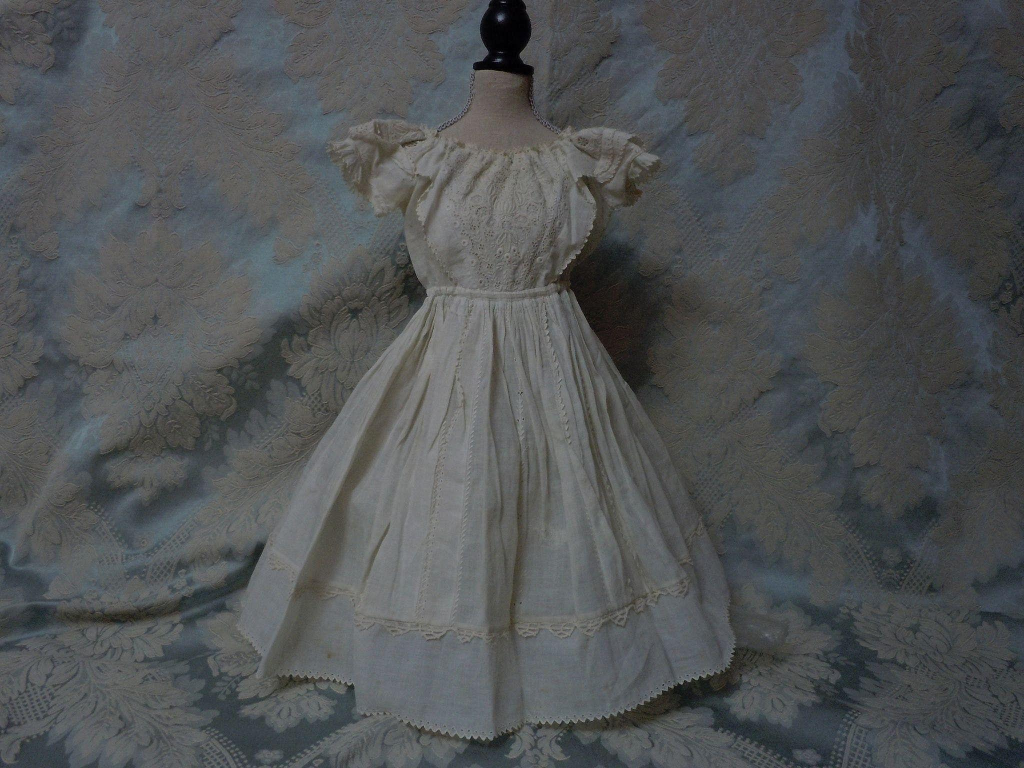 All Original 1840's Ayrshire embroidery Dress for french bebe Jumeau Steiner doll