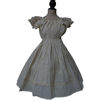 Original Antique 1840 Ayrshire exquisite white work embroidery Dress for french bebe Jumeau Steiner doll