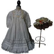 Beautiful Antique cotton linen Dress w/ Cap for german bisque french Bebe huge doll