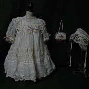 Exquisite Antique Organza Dress Taffeta Slip w/ Bonnet  for french bebe Jumeau Steiner Eden Bru doll