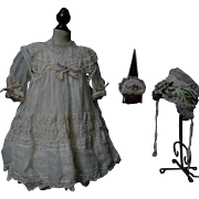 Exquisite Antique Organza Dress Taffeta Slip w/ Bonnet  for french bebe Jumeau Steiner Eden Bru doll