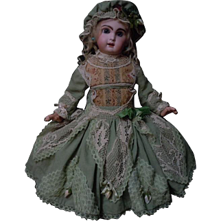 Beautiful linen brocade Costume Dress w/ petticoat and Cap for french bebe Jumeau Steiner Eden Bru doll