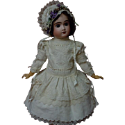 "Wonderful Antique Embroidered Pique Dress w/ Petticoat Hat for 25"" french bebe Jumeau doll"