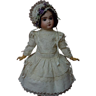 """Wonderful Antique Embroidered Pique Dress w/ Petticoat Hat for 25"""" french bebe Jumeau doll"""