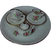 Lovely Vintage floral porcelain gilded trim doll Tea Set 7 pcs