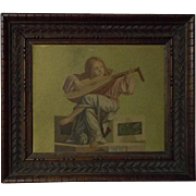 Antique carved wood Print Frame Angel Lute by Victor Carpaccio for doll Decor