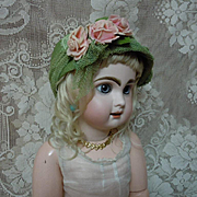 Charming Hat w/ roses for antique german french bisque doll