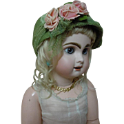 Charming green Hat w/ roses for antique german french bisque doll