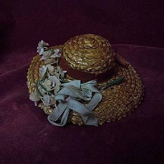 Beautiful original antique straw doll hat for tiny french bebe Bleuette sized doll