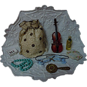 Exquisite Old Purse w/ 7 pcs Mirror Cello Eyeglasses Perfume Pillow Necklace Soap holder for antique doll decor