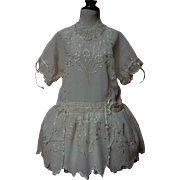 Exquisite Embroidered pure silk  Dress w/ Petticoat and Cap for french Bebe Jumeau Steiner doll