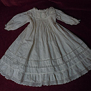 "Antique Batiste Dress for 27"" to 29"" huge bisque doll"