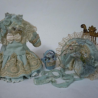 """Gorgeous tiny french Bebe Dress w/ Petticoat Hat Basket for 12"""" antique cabinet sized bisque doll"""
