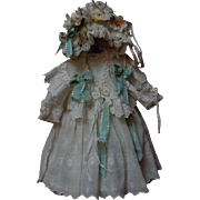 Beautiful muslin Dress Capelet Bonnet for antique Jumeau Steiner cabinet size doll