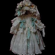 Beautiful muslin Dress Capelet Bonnet for antique Jumeau Steiner cabinet size doll