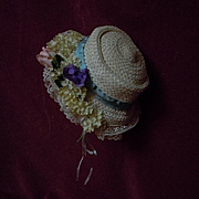 Lovely soft straw Hat w/ flowers for antique german french bisque doll