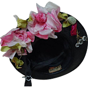 Gorgeous old wire frame Hat chiffon velvet roses for huge german bisque or french bebe doll