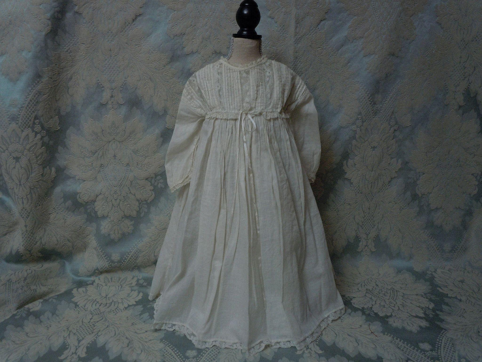 All Original Antique 19th Century white work Dress w/ Chemise for french bebe Jumeau Steiner doll
