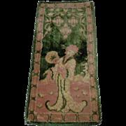 Wonderful All  Original Old velvet Carpet french dolls room dollhouse decor
