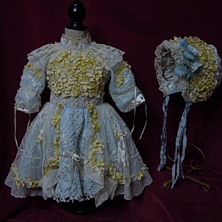 Gorgeous Orange Blossoms Couturier Costume Dress w/ Petticoat Hat Basket for french bebe Jumeau Steiner Eden doll
