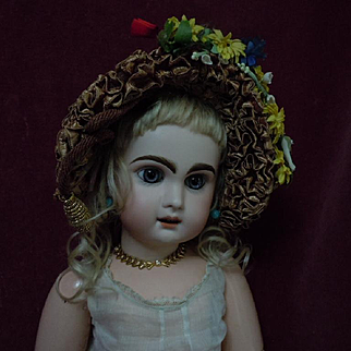 All Original Old soft Straw Hat for antique german bisque or french bebe Jumeau Steiner Eden doll