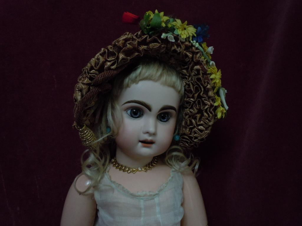 All Original Old soft Straw Hat for antique german bisque or french bebe Jumeau Steiner Eden doll