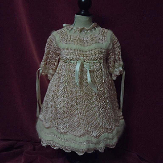 Gorgeous All Original knitted Rose silk Angora Old Dress for german bisque or french bebe doll