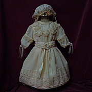 Wonderful  Old salmon peach taffeta Dress w/ Slip and Bonnet for german bisque doll