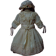 Wonderful  Old salmon peach taffeta Dress w/ Slip and Bonnet for german bisque doll