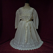 All Original Antique 19th century Dress w/ Slip for 27 to 34 inches french bebe Jumeau Steiner huge doll