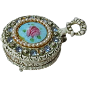 Exquisite Antique Jewelled Enameled Box Miniature embossed FR Prussian Eagle for french bebe doll decor