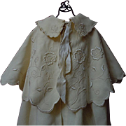 All Original Antique  Christening Cape Bonnet exquisite pure silk Embroidery for german french huge bisque doll