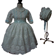 Exquisite white work Lawn Dress w/ Petticoat and Bonnet for french bebe Jumeau doll