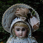 "Wonderful Taffeta Couturier Ensemble Dress Capelet and wired Hat Fit for 23"" french bebe doll"