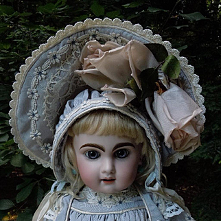 Beautiful Taffeta Dress Capelet Hat For french bebe doll
