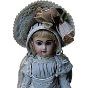 Wonderful Taffeta Couturier Ensemble Dress Capelet and Hat  for french bebe Jumeau Steiner Eden doll