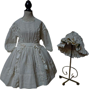 Wonderful white work Muslin Dress and Cap for french bebe Jumeau Steiner doll
