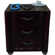 Beautiful Old vintage wood Dresser w/ 7 pcs doll accessories for cabinet sized doll decor
