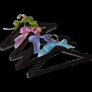 Lovely set 4 vintage wood tiny hangers for antique doll wardrobe