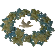 Rare antique celluloid Wreath Carrier Pigeon and Forget me nots  for antique dolls decor