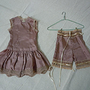 Lovely  french bebe Taffeta Underwear Set 2 pcs Slip Drawers for cabinet sized doll