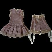 Lovely  french bebe Taffeta Underwear Set 2 pcs Slip Drawers for cabinet sized doll