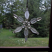 Exquisite Vintage snowflake glass  Window ornament  Christmas decor