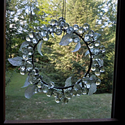 Gorgeous Vintage faceted glass Wreath ornament Christmas decor
