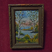 All Original mid century Landscape Framed Painting Miniature