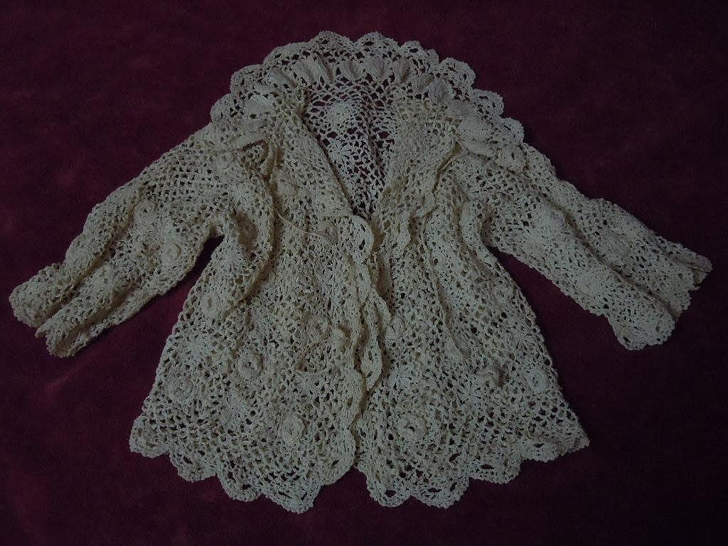 All Original knitted linen threads Irish Lace Antique Sweater for baby compo german french bisque doll