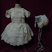 Original Antique  whitework Dress for french bebe Jumeau Steiner doll